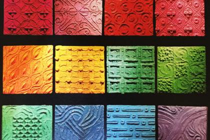 心の色を見つけて 280×280 木パネル.コンクリート.アクリルガッシュ
