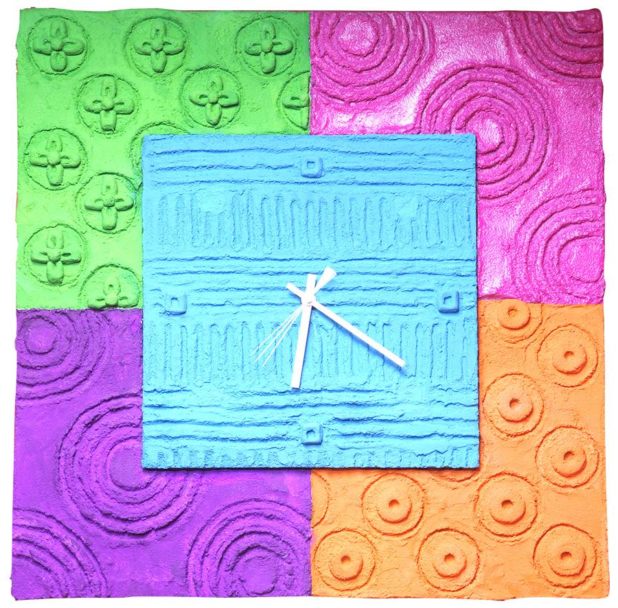 Colors of life clock W530×H530 木パネル.コンクリート.アクリルガッシュ