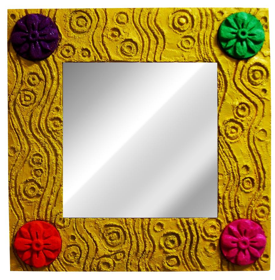 Colors of life mirror W520×H520 木パネル.コンクリート.アクリルガッシュ