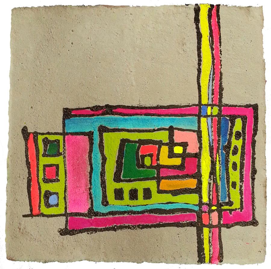 Scenery W235×H285 木パネル.セメント.アクリルガッシュ.アクリル樹脂