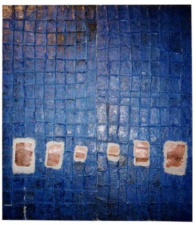 無垢の交差点 2100×1800 木材パネル.コンクリート.ペンキ.アクリル.ハリガネ.銅板