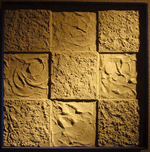 出逢う「喜び」 500×500 木材パネル.コンクリート.アクリルガッシュ.岩絵具