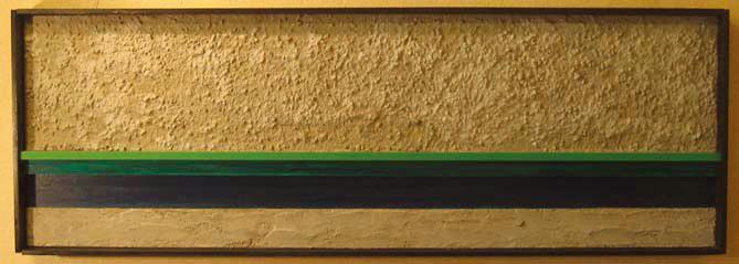 静寂の「喜び」 300×900 木材パネル.コンクリート.アクリルガッシュ.岩絵具