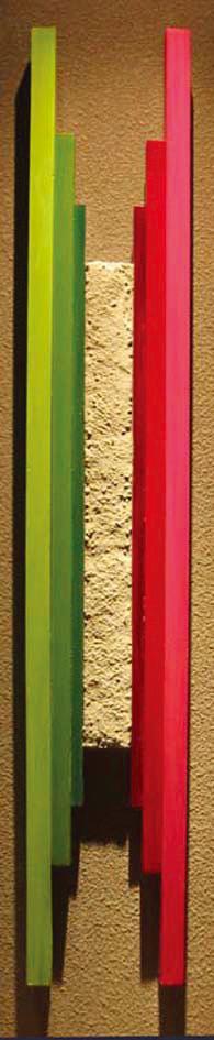 集う「喜び」 1200×230 木材パネル.コンクリート.アクリルガッシュ.岩絵具
